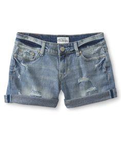Destroyed Light Wash Denim Boyfriend Shorts from Aeropostale