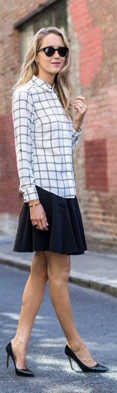 long sleeve windowpane shirt, black flare skirt, black pointy toe pumps + sunglasses {white house black market, sjp collection}
