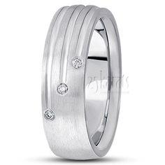 14K Gold Triple Incised Diamond Wedding Ring