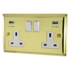 A Deco Polished Brass Double Socket with USB (White Switches) available to buy online now at Socket Store British Standards, Polished Brass, Usb, Deco, Decoration, Deko, Decor, Dekoration, Interiors