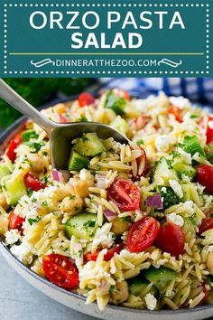 Orzo Salad with Vegetables and Feta Barley Salad Recipe Tabbouleh Salad, Couscous Salad, Healthy Salad Recipes, Vegetarian Recipes, Cooking Recipes, Barley Salad, Soup And Salad, Orzo Salat, Orzo Salad Recipes