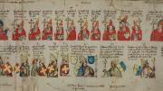 Der «Papst-Kaiser-Rotulus», der um 1432 im Rhein-Main-Gebiet entstanden ist, reiht 1400 Jahre Papstgeschichte als Bildfolge aneinander. Unter den Päpsten führt die Rolle unter anderen auch die umstrittene Päpstin Johanna auf. (Bild: Berlin, Staatsbibliothek)