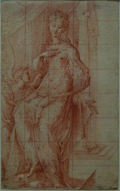 "PARMIGIANINO - Madone au long Cou, Etude (Louvre RF577) - 0 - TAGS : drawing dessin disegno personnage figure figures people personnes art painter peintre details détail détails croquis étude study sketch sketches Louvre France Italy Italy «Le Parmesan» Parmesan ""Francesco Mazzola"" Francesco Mazzola Parme Parma sanguine ""red chalk"" ""Madone au long Cou"" Madone Madona jesus Christ Bible child Virgin Vierge femme woman beauty beauté élégant elegant ""elegant woman"" Rideau curtain"