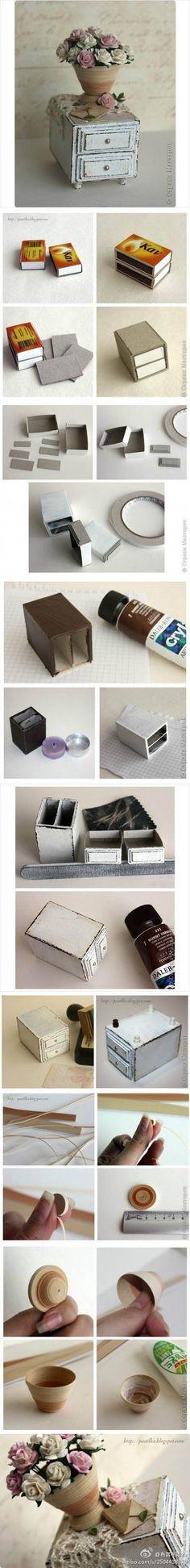 DIY: Matchbox Nightstand & Paper Vase