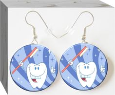 Happy tooth earrings,  For a Dental Hygienist, a Dentist or the little girt who just got a great checkup.