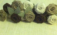 Shabby Chic Rustic Burlap Stemmed Roses by HeathersHobbys on Etsy, $21.00