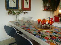 Cps Decor: Bancada - patchwork de azulejos coloridos