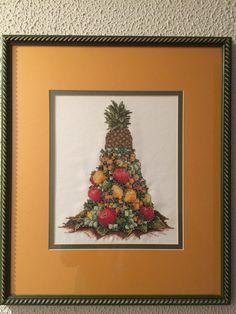 Cuadro de punto de cruz, centro de frutas.
