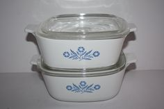2 Vintage Corning Ware Blue Cornflower 1.5 Qt Casserole Dishes/1.5 Quart Corning Casseroles w/Lids/P-1 1/2-B by DebiLynneVintage on Etsy