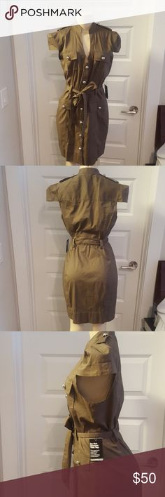 Express military army green dress w/silver buttons Stylish Express military dress with silver embellished buttons Express Dresses