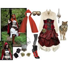 steampunk ridding hood by hachi13 on Polyvore featuring Ralph Lauren Collection, Kelly Ewing, Wolford, Pleaser, Miu Miu, Skingraft, McQ by Alexander McQueen, Behance and Lab