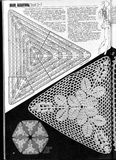 Recently I needed some nice crochet triangular form scheme for my new creation. Searching it on Internet I have found a lot of crochet diagrams of triangular Crochet Triangle Pattern, Crochet Doily Diagram, Crochet Motif Patterns, Crochet Chart, Crochet Squares, Filet Crochet, Crochet Designs, Crochet Doilies, Crochet Lingerie