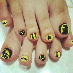 #batman #pedicure #design @Charlene Saunders Schrock you shoulda done this today...