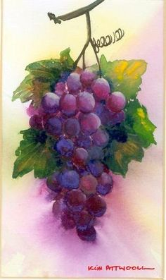 Grapes - watercolor - Handmade Cards by Kim with Watercolor Lessons and Free Card Making Ideas