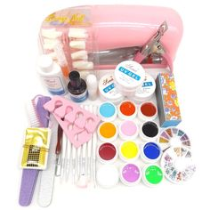 Warm Girl 25 in 1 Pro Nail Art Set Color UV Builder Gel DIY Decorations Brush Buffer Cuticle Revitalizer Oil Tools with 9W Pink UV Lamp * Check out this great product.