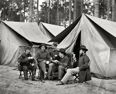 "Civil War, October 1864. ""Petersburg, Virginia. Hospital stewards of 2d Division, 9th Corps, in front of tents."""