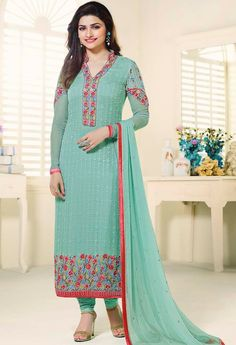 Blue Georgette Straight Suit..@ fashionsbyindia.com #designs #indian #fashion #womens #style #cloths #fashion #stylish #casual #fashionsbyindia #punjabi #suits