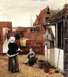Rotterdam, Delft, and Amsterdam - - Woman and Maid in a Courtyard, by Peter de Hooch Dutch genre painter and contemporary of Jan Vermeer. Delft, Pieter De Hooch, Oil On Canvas, Canvas Art, Dutch Golden Age, Dutch Painters, Dutch Artists, Rembrandt, Art History