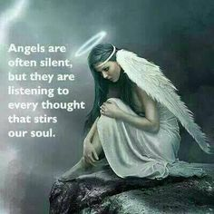 Engel sind oft still, aber sie hören auf jeden Gedanken, der unsere Seele bewegt. --- Angels are often silent , but they are listening to every thought that stirs our soul . Angels Among Us, Angels And Demons, Angels And Fairies, Angel Protector, Image Jesus, Angel Guide, I Believe In Angels, Angel Prayers, My Guardian Angel