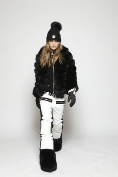 fall14 collection fur full fur rib hat with fur fox fur black fur boots white dolllpants zip gloves zip knit cardigan www.sos-sportswear.com