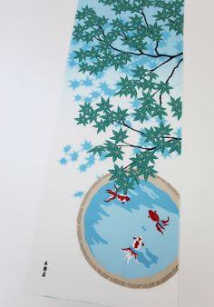 Japanese tenugui fabric momiji and golfish, kawaii fabric, japanese wrapping fabric, kimono yukata fabric, tea towel fabric