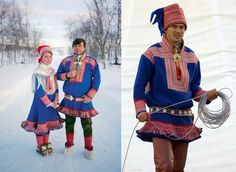 the traditional Sami dress; Sami (or Saami) is the indigenous people of Lapland in northern Finland, Sweden and Norway