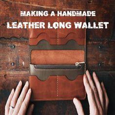 videos leather Making a handmade leather long wallet - DIY build along + digital pattern - ASMR Leather Bag Tutorial, Leather Bag Pattern, Sewing Leather, Diy Leather Projects, Leather Diy Crafts, Leather Craft, Handmade Leather Wallet, Leather Gifts, Leather Wallets For Men