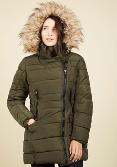 Central Parka Coat in Olive by Steve Madden - Green, Solid, Buttons, Exposed zipper, Pockets, Quilted, Casual, Long Sleeve, Fall, Winter, Faux Fur, Woven, Good, Rustic, Long, 3