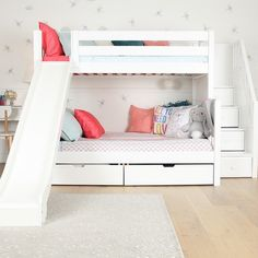 Quality Kids Beds + Kids Bedroom Sets: Bunk Beds, Lofts and Storage. Fun, safe furniture toddlers, children + teens use and love. Bunk Beds For Girls Room, Toddler Bunk Beds, Bunk Bed Rooms, Loft Bunk Beds, Modern Bunk Beds, Full Bunk Beds, Kid Beds, Girls Bedroom, Bunk Beds For Toddlers