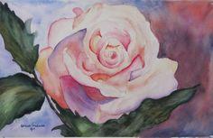 Rose in watercolor by Kathleen Friedman