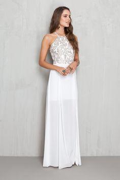 vestido longo busto com tule bordado   Dress to