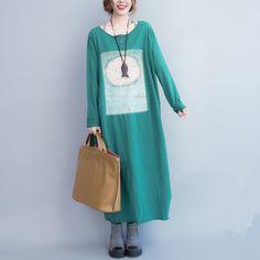 Thick cotton long dress - Buykud