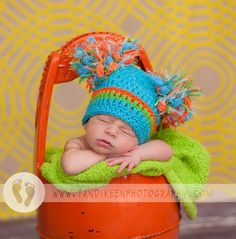 Newborn Baby Boy Hat -Turrqoise, Orange and lime with Big Pom Poms on Etsy, $19.99