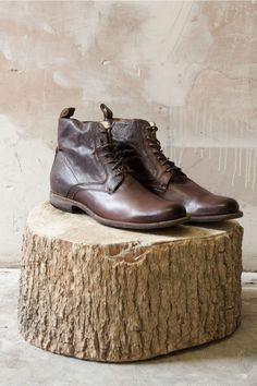Frye Boots | Phillip Lace Up Brown Leather