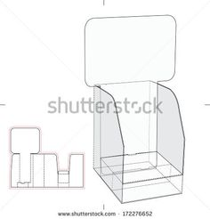 Display Box with Blueprint Layout - stock vector