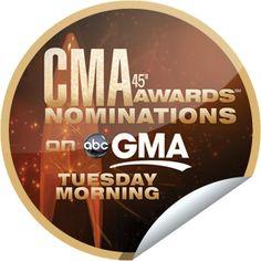 CMA Award Nominations on GMA on September 6! Sticker | GetGlue