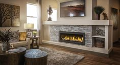 """The Vector by Napoleon is impressive, 50 inches impressive! Its amazing choice of contemporary fireplace medias, Napoleon's provides you with a luxurious fireplace experience. Enjoy the radiant glow from the standard Topaz CRYSTALINEâ""""¢ glass."""