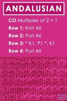 Crochet Stitches Patterns Andalusian Knit Stitch Pattern Free Instructions by Studio Knit with Video Tutorial Loom Knitting Stitches, Dishcloth Knitting Patterns, Crochet Stitches Patterns, Easy Knitting, Knitting Needles, Knitting Yarn, Knitting Ideas, Cowl Patterns, Easy Patterns