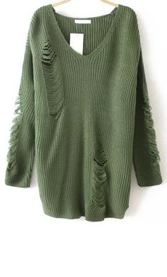 V Neck Ripped Sweater. I want to wear it now!