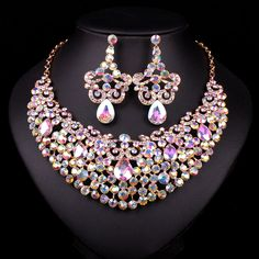 New Gold Plated Necklace Crystal Necklace Earring Bridal Jewelry Sets Bride Wedding Party Prom Dresses Accessories Gift Women