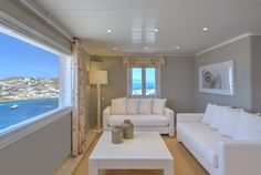 Presidential Villa in Mykonos. Santa Marina Resort & Villas with Private Pool in Mykonos. Marina Resort, Villa With Private Pool, Resort Villa, Mykonos, Villas, Terrace, Santa, Lounge, Vacation