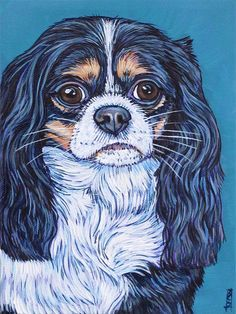 """Custom Pet Portrait Painting on Canvas Mounted 6"""" x 8"""" x .75"""" in Acrylic of One Dog, Cat, Animal. Max the Cavalier King Charles Spaniel sample from Pet Portraits by Bethany"""