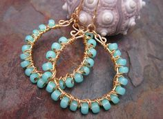 ❥ nature you can wear...    ~ sparkling aqua opal luster Japanese glass beads individually wire wrapped  ~ Gold plated wire ~ handmade with skill in