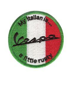 Vintage Style Vespa Patch écusson « Mon italien est un peu rouillé »