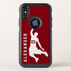 Cool New Sports Red Basketball Player Name OtterBox Commuter iPhone X Case - red gifts color style cyo diy personalize unique Basketball Players Names, Basketball Crafts, Ohio State Basketball, Basketball Shoes For Men, Basketball Memes, Basketball Design, Sports Basketball, New Iphone, Iphone Cases