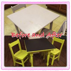 Regular kids table and chairs now a chalkboard table.