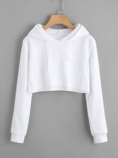 Hooded Drawstring Crop Sweatshirt - Things I like :) Girls Fashion Clothes, Teen Fashion Outfits, Cute Comfy Outfits, Cool Outfits, Trendy Outfits, Grunge Outfits, Belly Shirts, Tokyo Street Fashion, Crop Top Hoodie