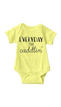 Everyday I'm Cuddlin Yellow Baby Onesie | Sarcastic ME