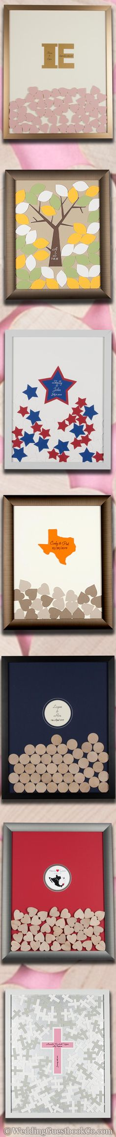 A unique alternative to the wedding guest book, simply remove the top of the frame, sign a piece, and drop it into the top plinko style. Hearts, Circles, and many other custom shapes are all possible! And with a plethora of different Frame styles and colors, background colors, piece colors and shapes, you're sure to find something to match the occasion!