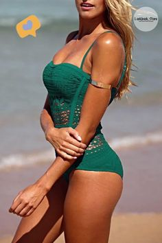 Fashion Deals // This deep teal lace halter swimsuit is proof that one-piece swimwear can still be uber-sexy.